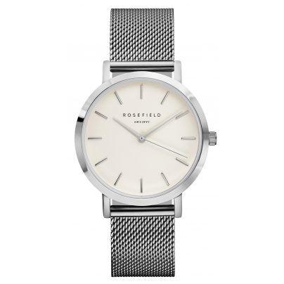 Zeitlose Armbanduhr von Rosefield.  https://www.uhrcenter.de/uhren/rosefield/damenuhren/rosefield-the-mercer-white-silver-uhr-mws-m40/