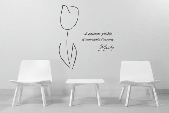 Philosophy wall art Jean-Paul Sartre inspirational quote and Fringe White Tulip vinyl wall decal minimal decor (ID: 131035)