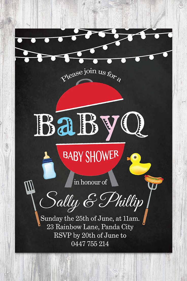 BBQ Baby Shower Invitation. BabyQ Shower Invitation Chalkboard Co-ed Baby Shower Invite Babyque Boy or Gril. Printable digital DIY.