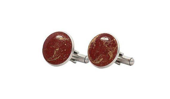 Coppia di Gemelli Rosso e Oro in resina epossidica e acciaio inox made in Italy