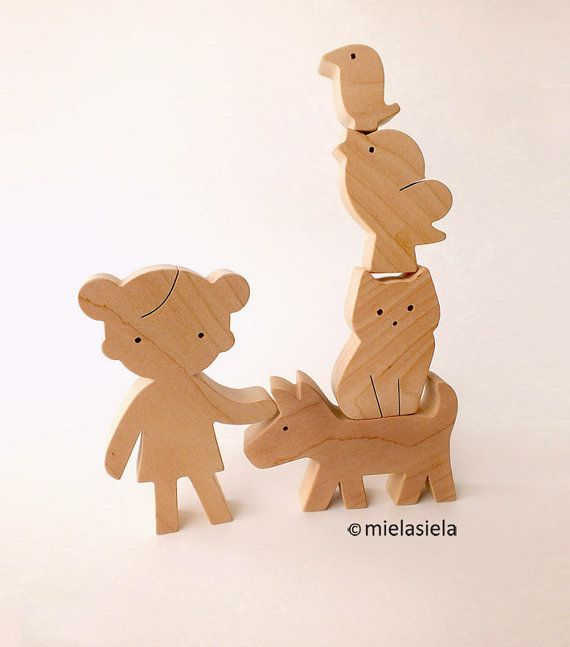 Wooden toy set - Girl, cat, dog and birds - Wooden animals - waldorf natural wood toy