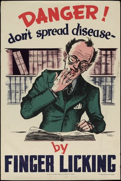 New Zealand Railways. Publicity Branch :Danger! Don't spread disease by finger licking. Issued by the New Zealand Department of Health. E V Paul, Government Printer, Wellington [ca 1950s]