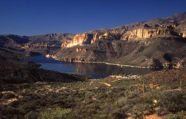View of the Apache Lake from the Apache Trail in Arizona.