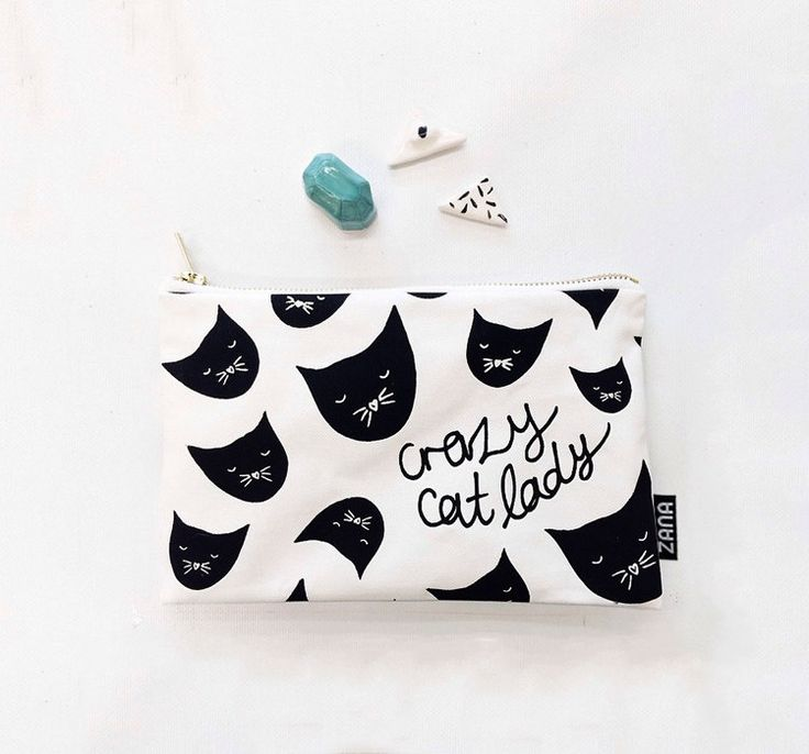 Crazy Cat Lady Pouch Cosmetics Pouch for Cat Lady by ZanaProducts