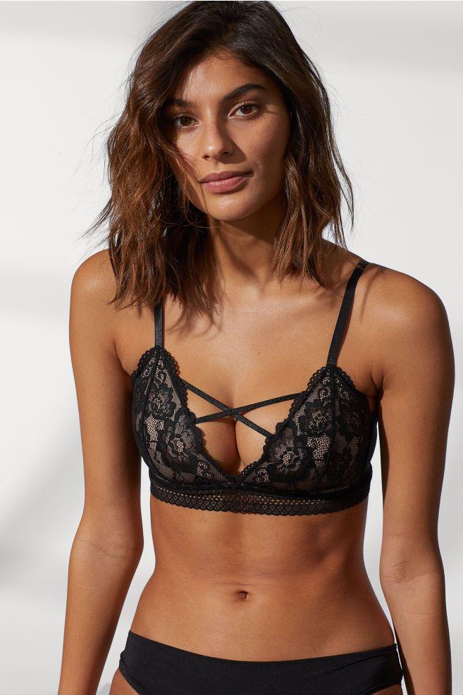 7da36b26d1343 Non-wired lace bra - Black - Ladies