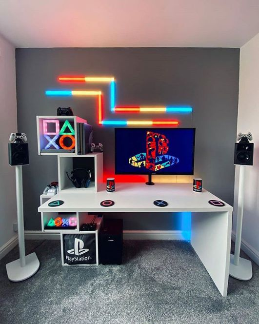 Computer Gaming Room, Gaming Room Setup, Best Gaming Setup, Gaming Rooms, Pc Setup, Bedroom Setup, Room Ideas Bedroom, Small Game Rooms, Video Game Rooms