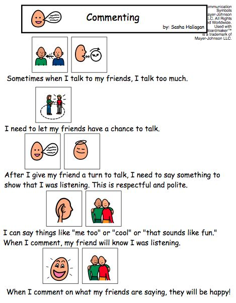 #SocialStory for Commenting within a Conversation  Good message for adults too, just change the wording