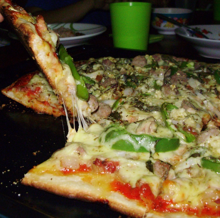 In Sisophon Cambodia, where I am currently working as missionary, we can't find any pizza in town, so I made my own. =)