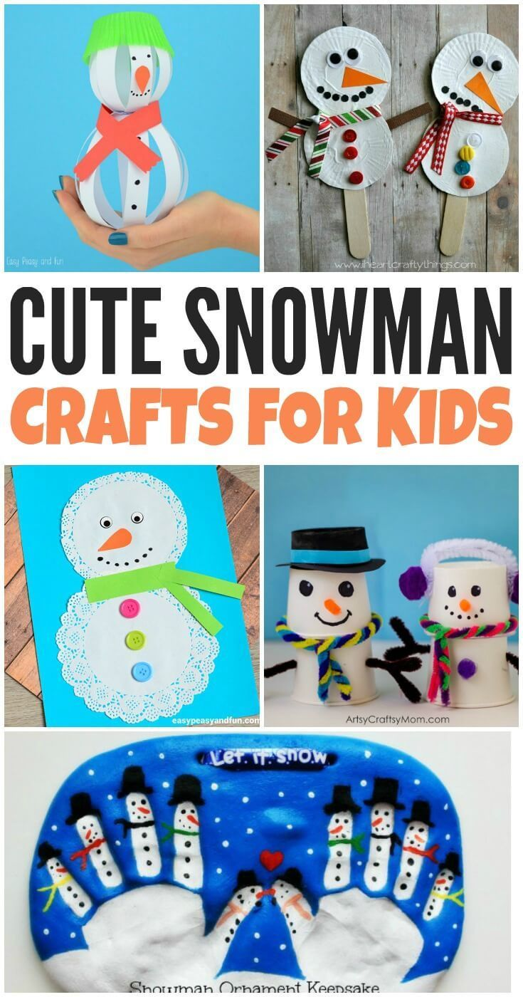 Looking for easy snowman crafts for kids to make this winter? These fun snowman craft ideas will the kids busy and give them a fun creative outlet.  #WinterCrafts #Snowman #CraftsForKids #EasyCrafts