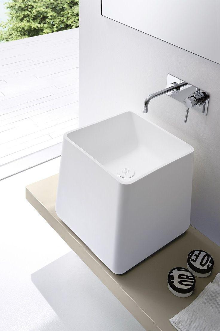 Countertop Korakril™ washbasin with integrated countertop Opus Collection by @rexadesign