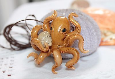 Gold octopus / pendant necklace jewelry / handmade polymer clay