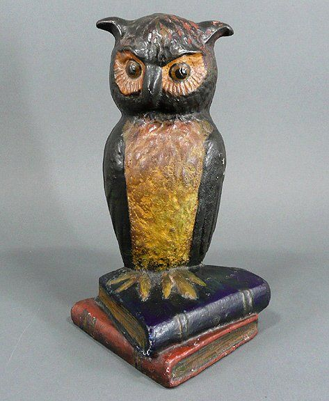 Antique Figural OWL Cast Iron Door Stop Doorstop if you ever see this in a shop...stop and buy!