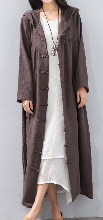 85dc7107412e Fashion-chocolate-long-coat-Loose -fitting-hooded-cardigans-2018-Chinese-Button-trench-coat