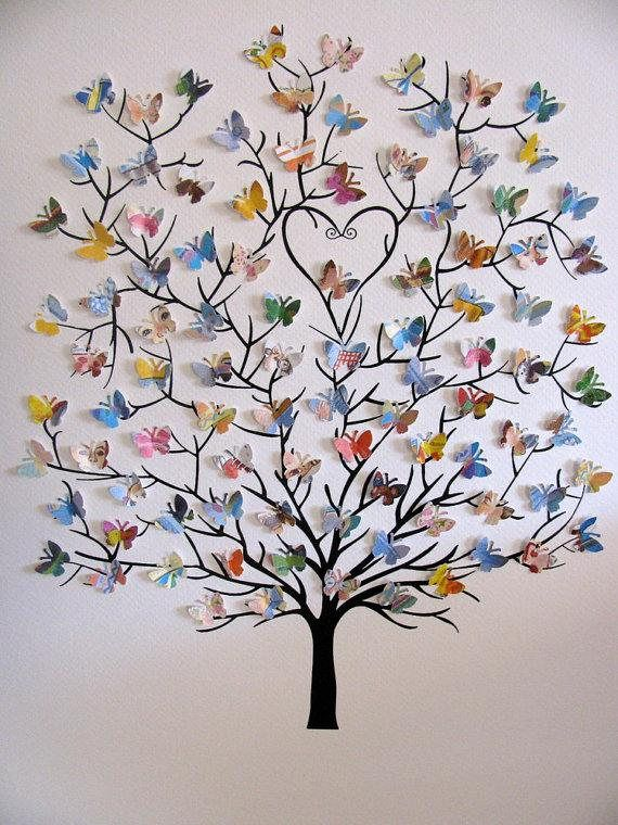11 x 14  árbol 3D de Mini mariposas Upcycled amor usted por