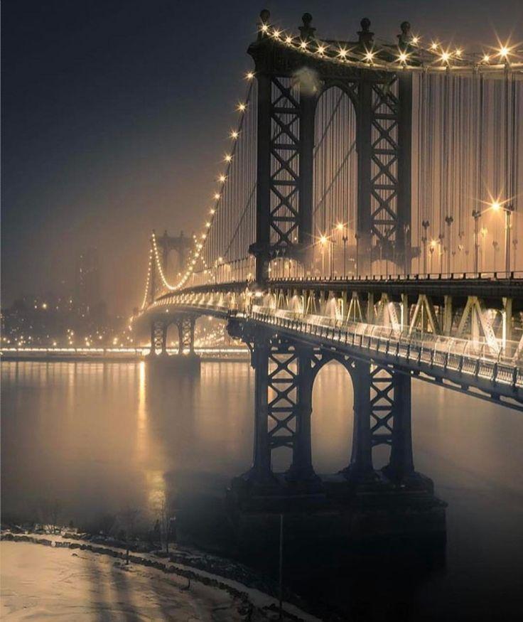 Manhattan Bridge at night by @lastsuspect @scottlipps