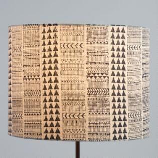 Indigo Blue Block Print Cotton Drum Table Lamp Shade