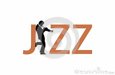 A jazz wordmark in which the border of the letter J and a jazz trumpet player leaning on that letter form another letter - the letter A. It is in a light brown color.