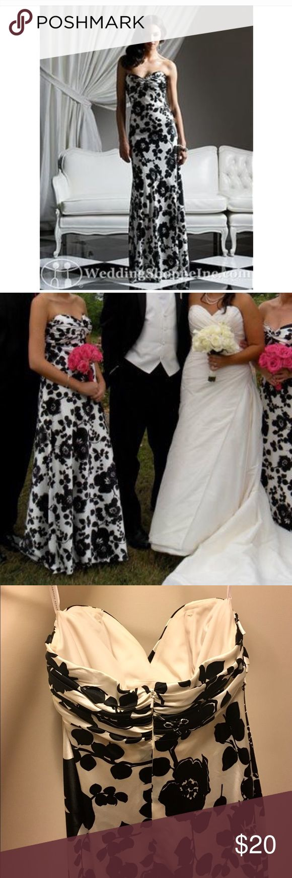 Black and white strapless dress Dessy bridesmaid dress in a gorgeous black and white floral pattern called Melrose. Size 10L but I had it altered to fit tight across the bust so it wears more like an 8. Gorgeous for any formal occasion! Dresses Strapless