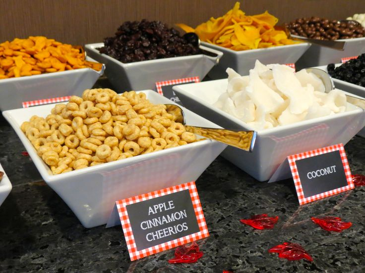 Farmers Market 2013 | Trail mix bar! Add your favorites, such as Apple Cinnamon Cheerios, gold fish, dried coconut, dried cherries, dried mangos, and chocolate covered raisins.