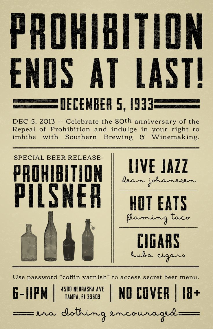 prohibition in the 1920s The congressional law to implement the prohibition permitted under the 18th  amendment was the volstead act, coming into operation january, 1920.