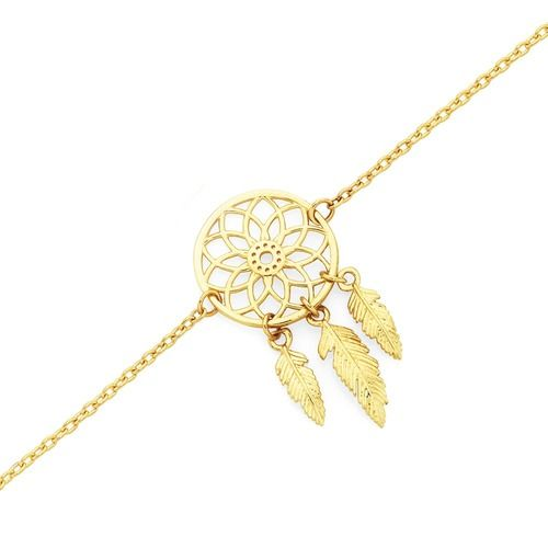 9ct Gold 27cm Dream Catcher Trace Anklet