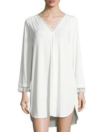I0V2Y Oscar de la Renta Luxe Jersey Sleep Shirt, Champagne