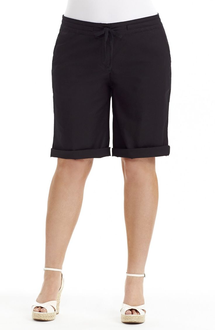 Drawstring waist Short Black D Style No: SHO118 Stretch linen Look Cotton fabric short. This short is Knee length and has a fly front. It can be worn with the hem turned up to create a cuff or not.. you choose. The short has a Draw string waist , two side pockets at the front and two patch pockets on the back.  #plussize #dreamdiva #dreamdivafiles