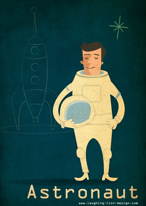 Astronaut Illustration Vintage - Pics about space