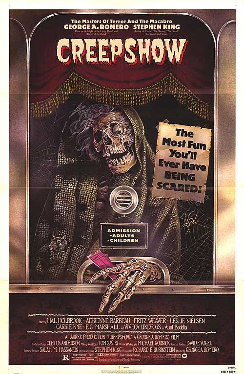 """Creepshow"" - Inspired by the E.C. comics of the 1950s, George A. Romero and Stephen King bring five tales of terror to the screen. An amazing cast: Hal Holbrook, Adrienne Barbeau, Leslie Nielsen, Ed Harris, Ted Danson and writer Stephen King in a cameo role. Directed by George A. Romero, the biggest badass in horror. Image and info credit: IMDb."