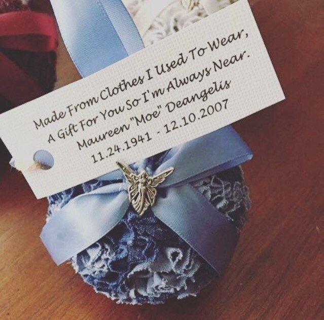 Memorial ornament- bereavement gift- fabric ornament- memory bear- keepsake- decorative ball- pomander- by CreatedbyKellett on Etsy https://www.etsy.com/listing/462470002/memorial-ornament-bereavement-gift