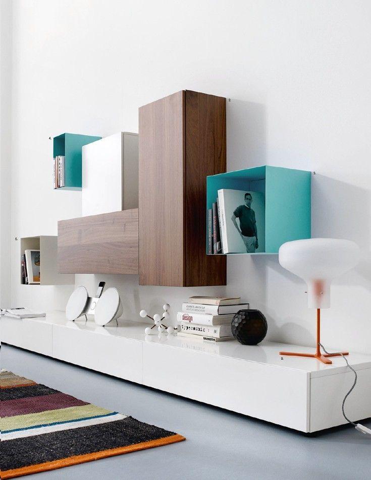 Стенки в зал: обзор современной и функциональной мебели для гостиной http://happymodern.ru/stenki-v-zal-45-foto-vybiraem-idealnuyu-mebel/ Сочетание разных материалов и оттенков для стенки в стиле в минимализм