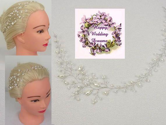 Vigne de cheveux perles blanches et cristaux Swarovski/Fil