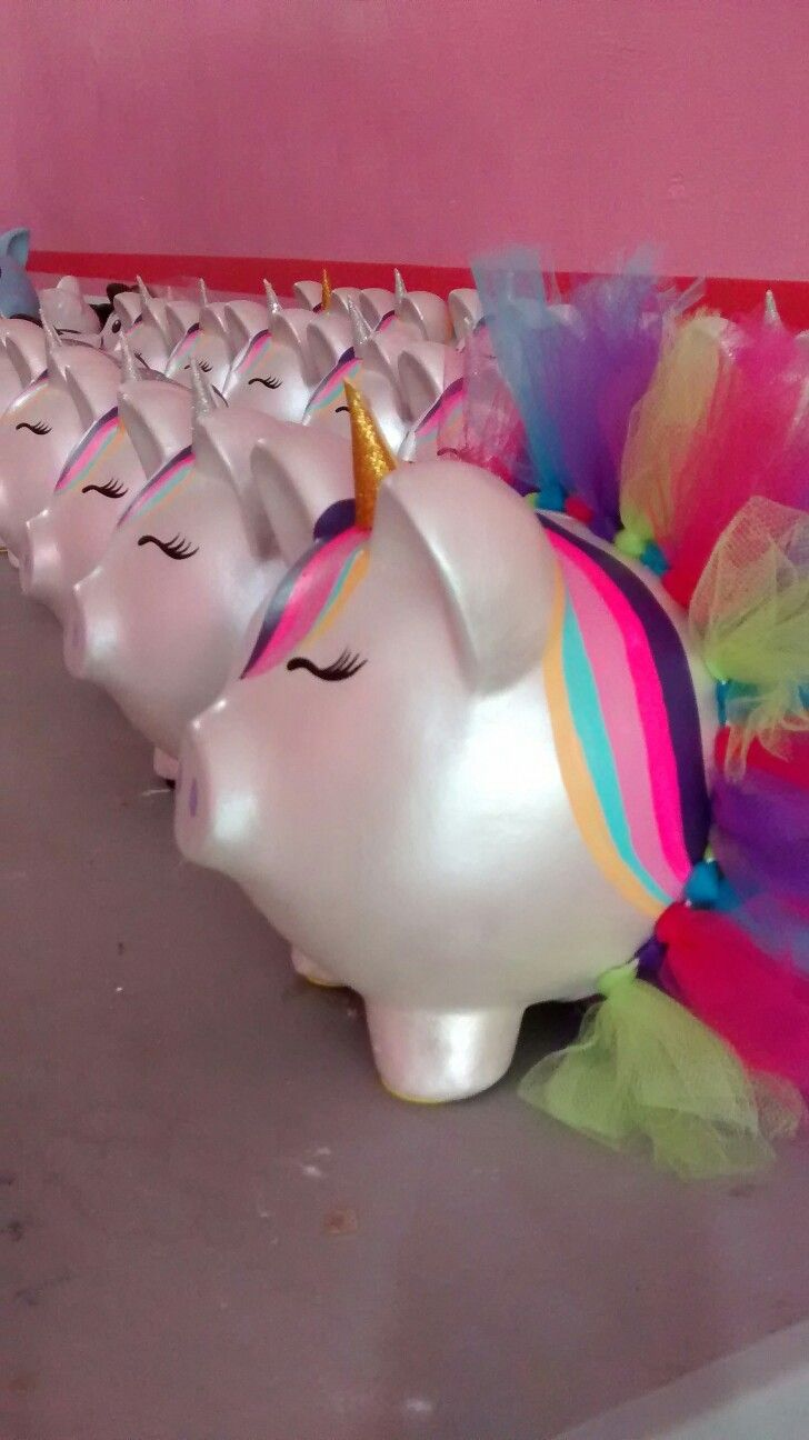 Alcancía pigy bank cerditos chonchitos decoradas Unicornio
