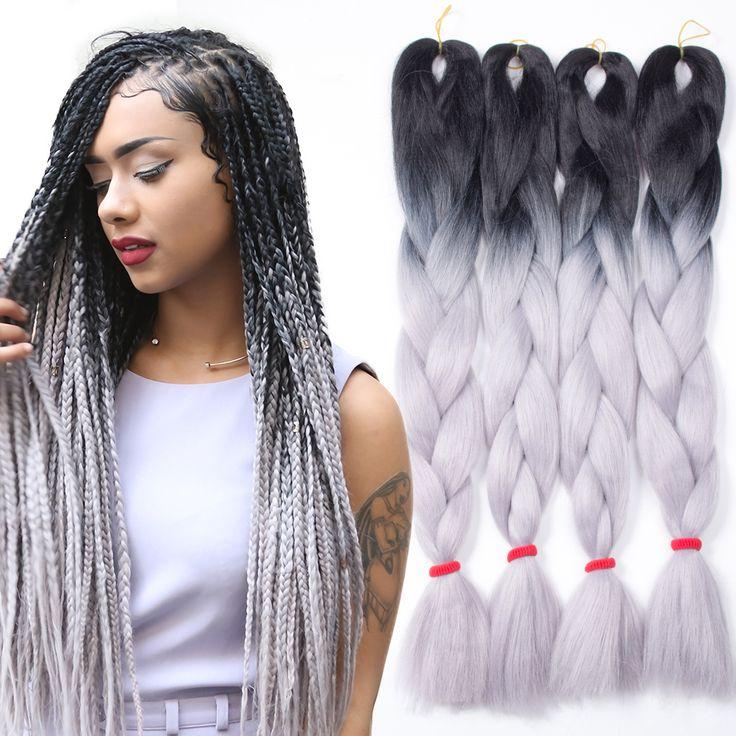 5pcs Ombre Kanekalon Braiding Hair Grey/Gray Kanekalon Jumbo Braid Two Tone Ombre Braiding Hair Synthetic Box Braids Hair