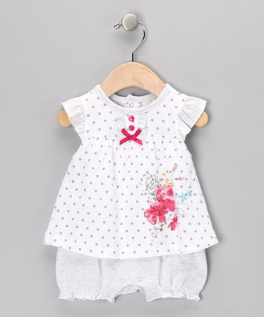 Take a look at this White & Gray Polka Dot Ruffle Flower Romper - Infant by Absorba on #zulily today!
