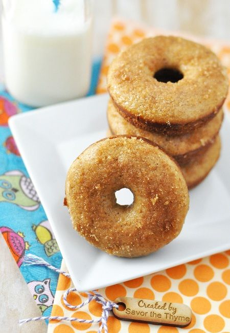 BAKED Apple Cider Maple Syrup Donuts with Cinnamon-Sugar Topping by Jennifer Leal @savorthethyme