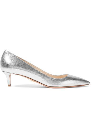 Heel measures approximately 45mm/ 2 inches Silver textured-leather Slip on Made in ItalyLarge to size. See Size & Fit notes.