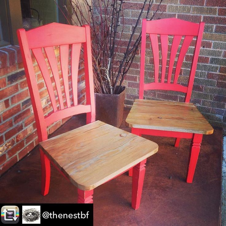 Dining chair makeover from The Nest in Bonners Ferry Idaho using Superior Paint Co. Fireball Red Chalk Furniture Paint