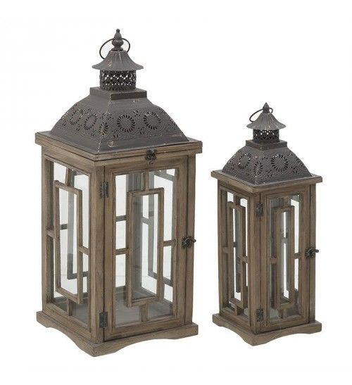 S_2 WODEN_METALLIC LANTERN IN BROWN COLOR 27X27X68