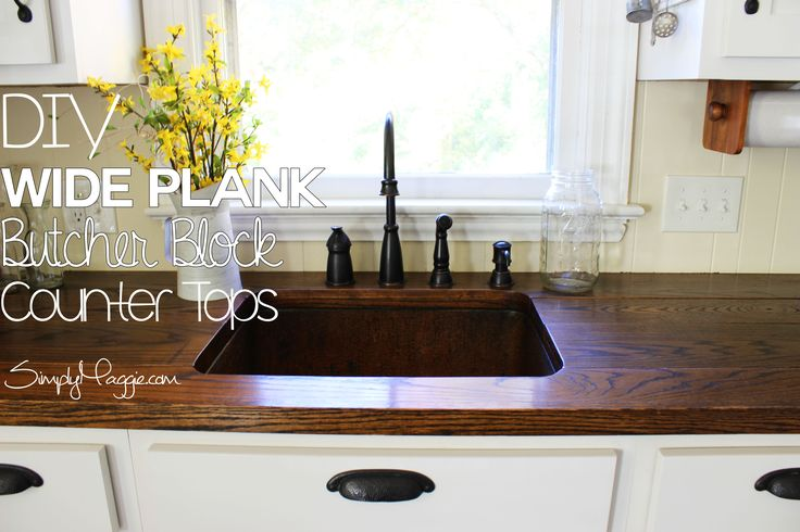 Diy wide plank butcher block counter tops build a house pinterest - Home depot butcher block wood ...