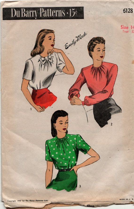 Du Barry Sewing Pattern 1945 Blouse 6128 size 14 bust