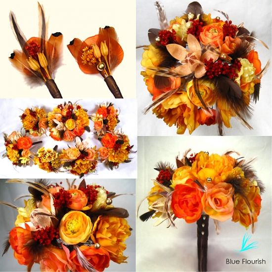 Golden Autumn Wedding Bouquet Set