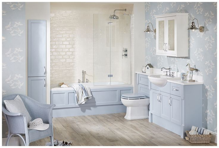 Inspired by the cool colours of the seaside, Roseberry in Blue Lagoon and Cotton White #Roseberry #paintedtimber #bathroomfurniture #myutopia