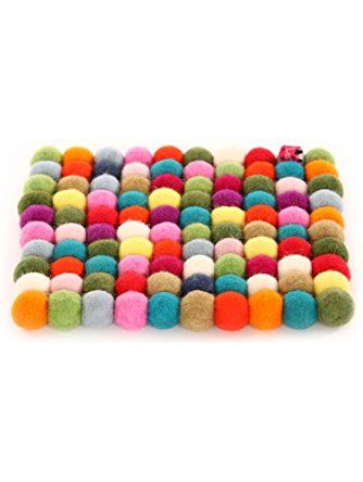 Happy As Larry Round Felt Ball Trivet(s) and Coasters (Trivet Only, Square Original Multi-Color) ❤ Happy as Larry