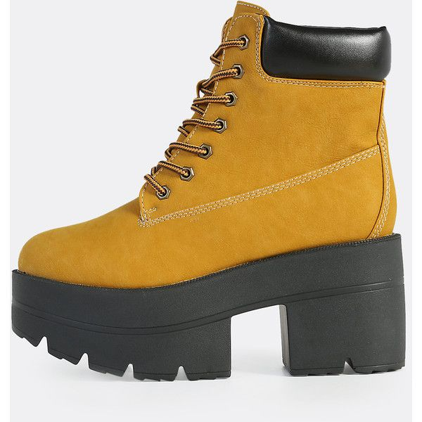 SheIn(sheinside) Lace Up Platform Worker Boots WHEAT ($12) ❤ liked on Polyvore featuring shoes, boots, ankle booties, yellow, laced up boots, chunky platform booties, lace up platform booties, chunky booties and chunky platform boots