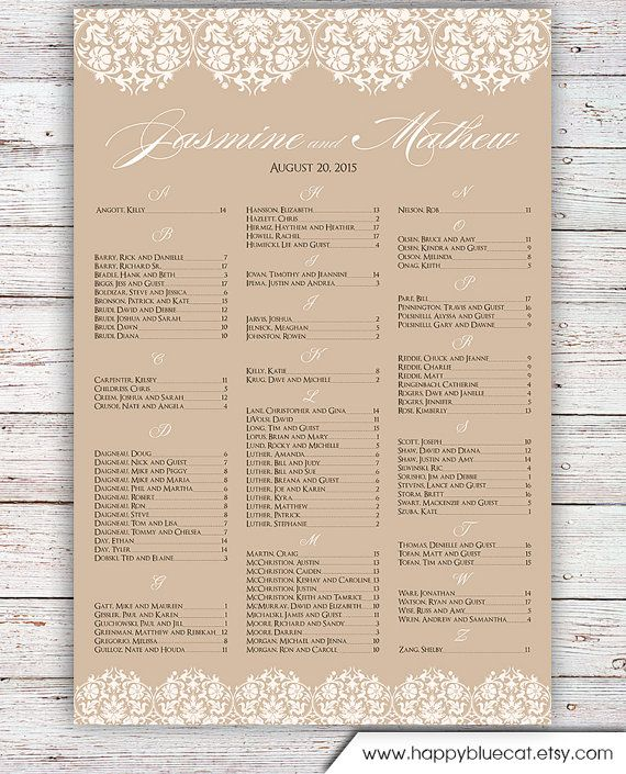 Wedding Seating Chart -  FREE RUSH SERVICE 12 hours - Ornament Floral Rustic Lace Seating Chart , Reception Template Seating Chart -HBC152