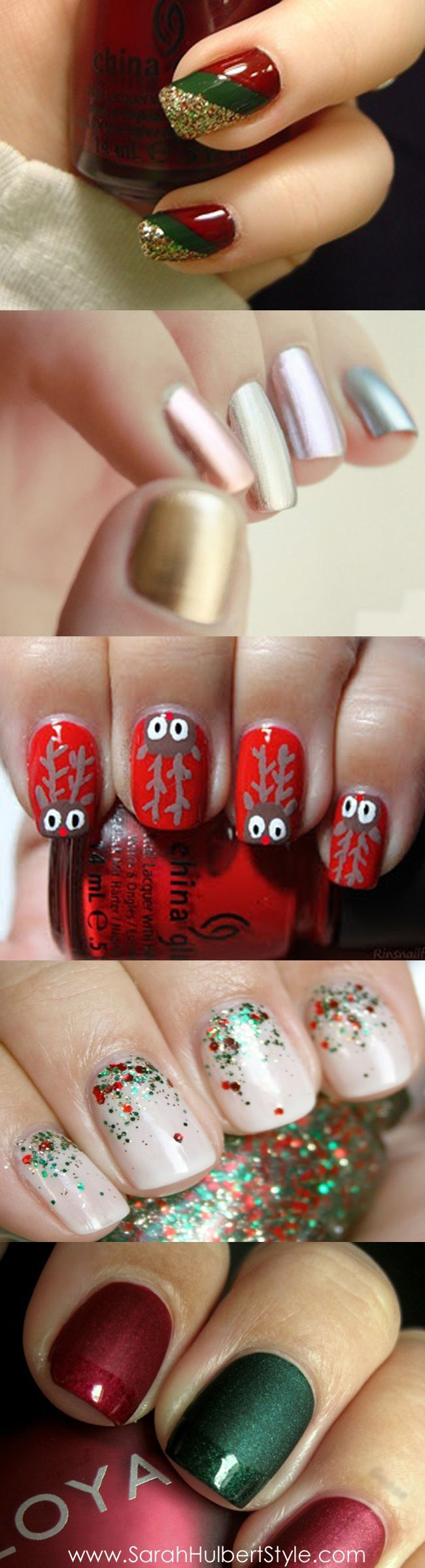 Holiday Party Style: Festive Manicures  #mani #nailpolish Nail Design, Nail Art, Nail Salon, Irvine, Newport Beach