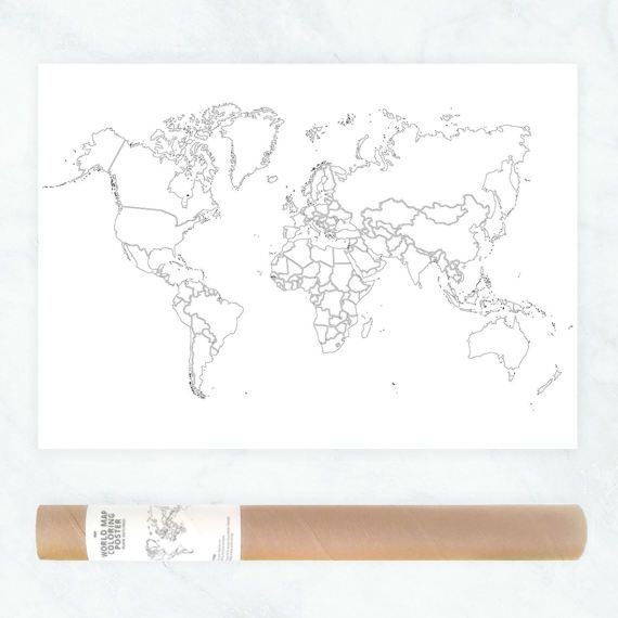 world map plain outlines poster black and white minimalistic design world map wall art coloring travel map political map of the world by AnnaGrundulsDesign