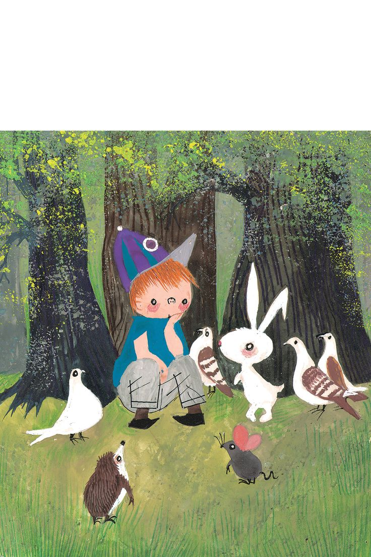 Fotobehang 050 | Dieren in bos met Pluk van de Petteflet | 243,5 x 280 cm