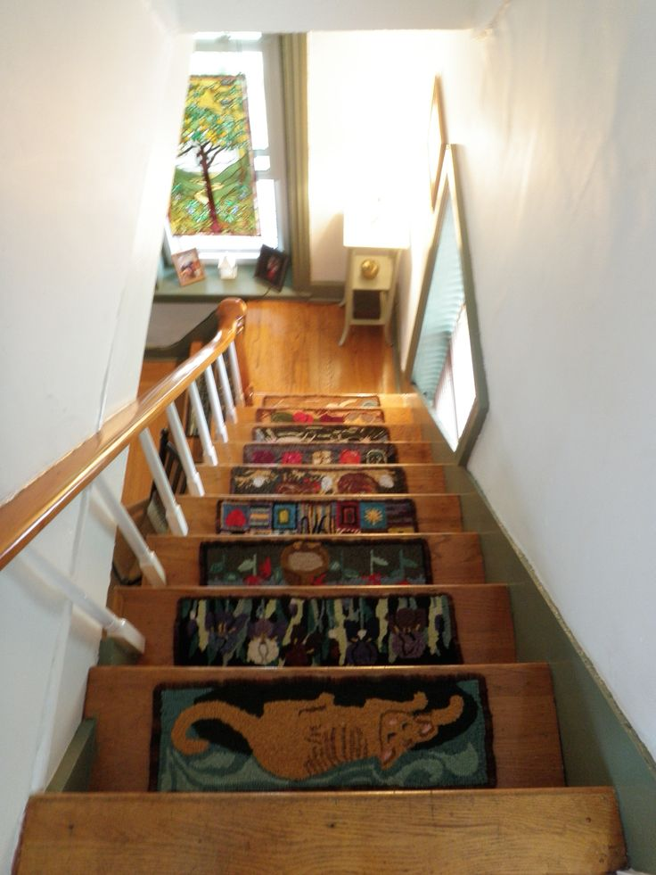 Looking down at stair treads